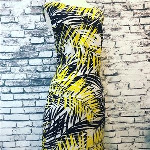 Ronni & Nicole Yellow White Palm Branch Dress